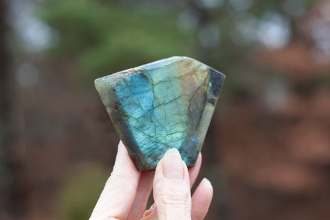 Rainbow Labradorite Slab | Blue Labradorite is thought to awaken intuition, psychic abilities and holds the power of the Universe.