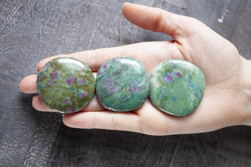 Ruby Fuchsite Palm Stones are perfect for carrying with you throughout the day.