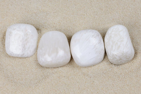 white scolecite stones - excellent quality, fluffy pillow shape with faint beige feathering