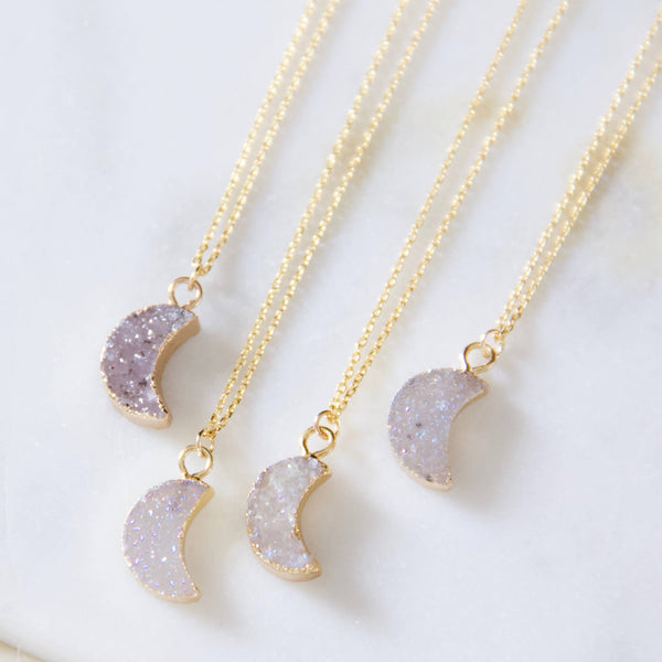Tiny Moon Druzy Necklace