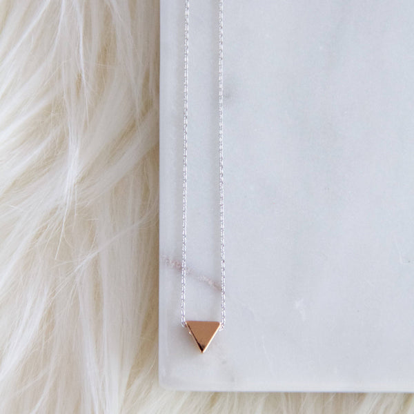 Rose Gold Triangle, Silver Chain