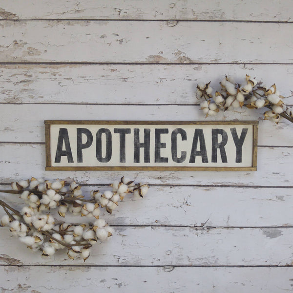 The Green Elephant Shop - Apothecary Sign 33x8 inches