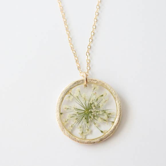 White Queen Anne's Lace Flower Necklace