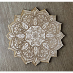 Mandala Wooden Crystal Grid, 12in Intricate Floral Birch Wood Grid