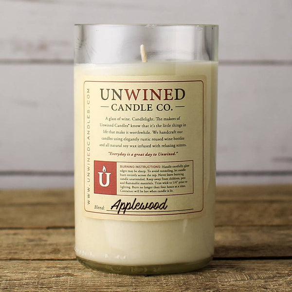 Unwined Candles - Applewood Signature Series - Wine Bottle Candle