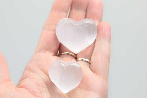 Selenite Puffy Hearts