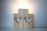wooden heart candles