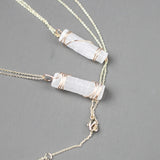 Raw Selenite Necklace - Crystal Pendant on Adjustable 18in Chain | 14k Gold Filled