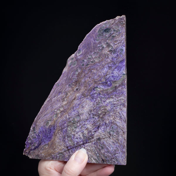 large charoite slab with vivid purple color and lavender swirls