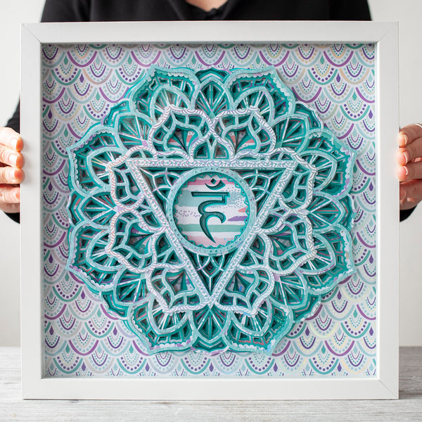 Throat Chakra Art, 3D Framed Wall Art