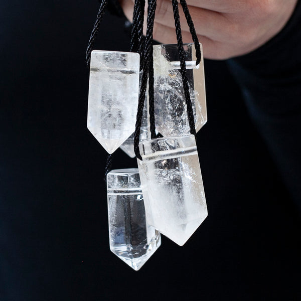 Clear Quartz Tower Pendant, Drilled Quartz Generator