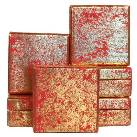 Red and Gold Mini Gift Box, Metallic Foil