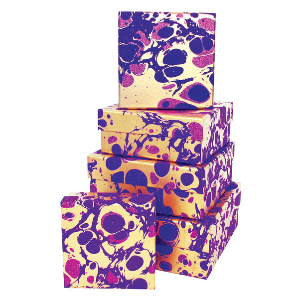 Purple and Gold Marble Nesting Boxes, Metallic Foil & Glitter Gift Box Set of 5