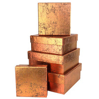 Copper Nesting Boxes, Metallic Foil Gift Box Set of 5