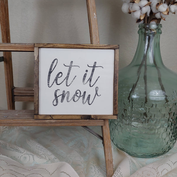 The Green Elephant Shop - Let It Snow small square sign