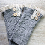 Light Gray Knitted Boot Cuffs with Buttons and Lace, Handmade