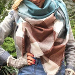 Blanket scarf, Teal and Brown