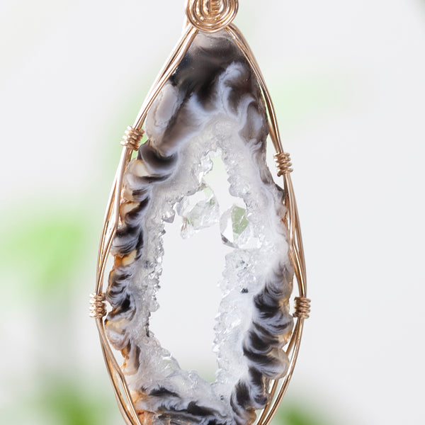 Long Agate Slice Pendant, 14k Gold Filled, 20in