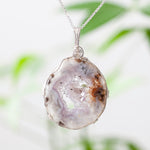 White Agate Slice Pendant, Sterling Silver, 20in