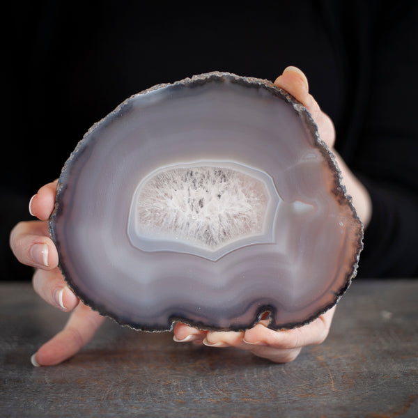 Natural Agate Slice, Gray