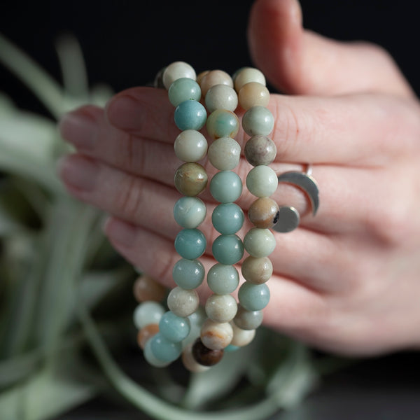 Amazonite Bracelet, 8mm Stretch, Matte Beads