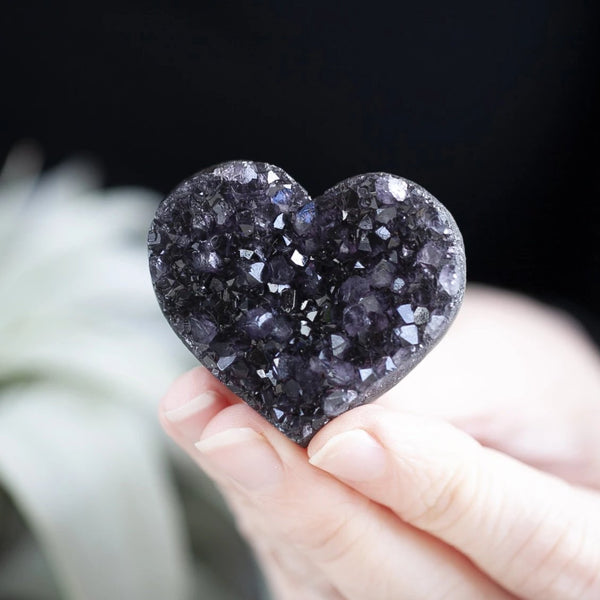 Black Amethyst Heart