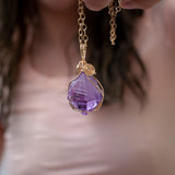 Amethyst Pendant Necklace in 14k Gold Filled Wire Wrapping on 22in Chain