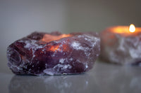 Raw Amethyst Tealight Candle Holder - Solid Crystal