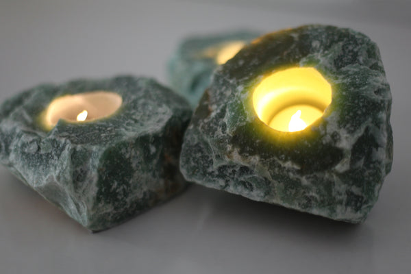 Green Aventurine Tea Light Holder - Raw Crystal Candle Holder