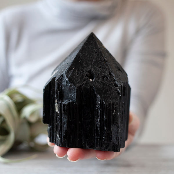 Black Tourmaline Tower, Raw Base, 2lb