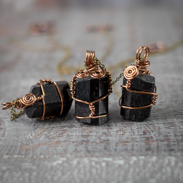 Raw Black Tourmaline Pendant Necklace