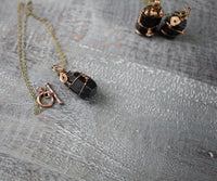 Raw Black Tourmaline Pendant Necklace | Vintage Brass, 18in, Toggle Clasp