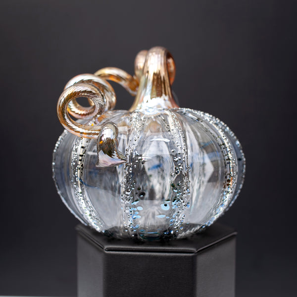 Whimsical Blown Glass Pumpkin, 'Happily Ever After',  5in