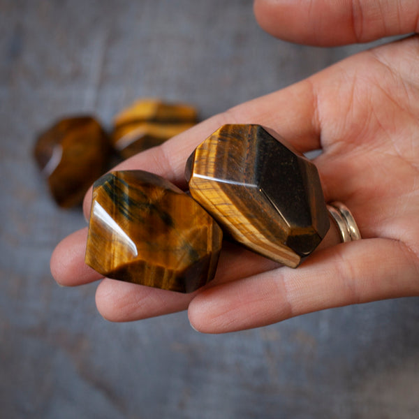 Blue and Gold Tiger's Eye Stones, Gem Cut and Polished, Variegated