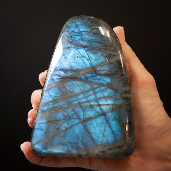 Triangular Labradorite Freeform with Brilliant Aqua Flash and Criss-Cross markings