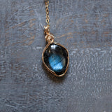 Blue Labradorite Pendant Necklace | 14k Gold Filled Wire Wrapped Stone on 20 Inch Chain