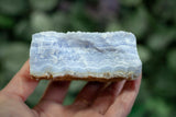 large raw blue lace agate stone with stripes