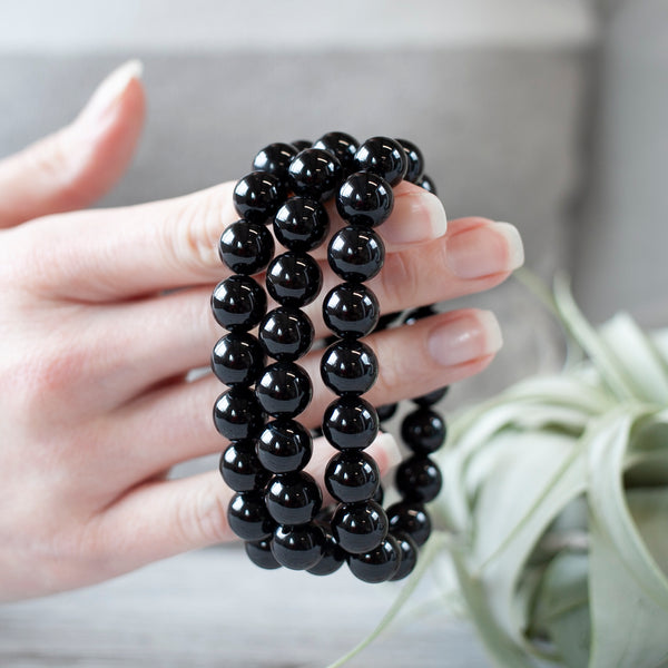 Black Tourmaline Bracelet, 10mm Beads