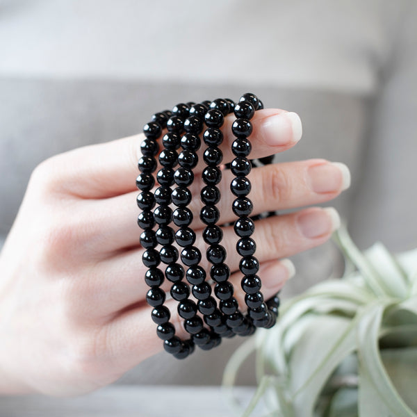 Black Tourmaline Bracelet, 6mm Beads