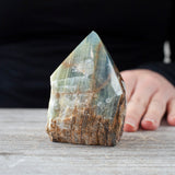 Blue Calcite in Onyx Top Polished Point