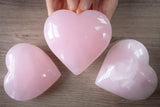 Large Pink Calcite Stone Heart | Giant Crystal Puffy Heart