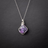 Charoite Pendant Necklace in Sterling Silver on 20 Inch Chain