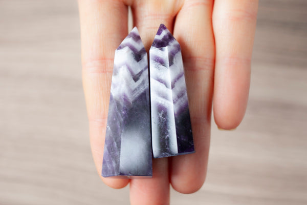 Grade A Amethyst Towers, White Zig Zag Banding. Also known as Chevron Amethyst or Dogtooth Amethyst