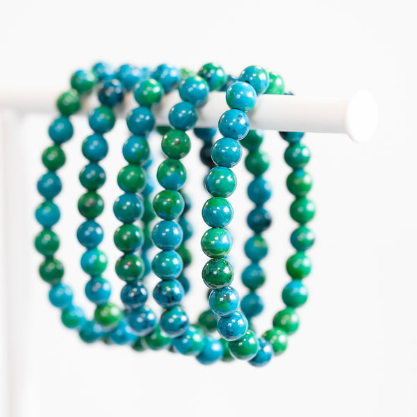 Chrysocolla Bracelet, 8mm Bead