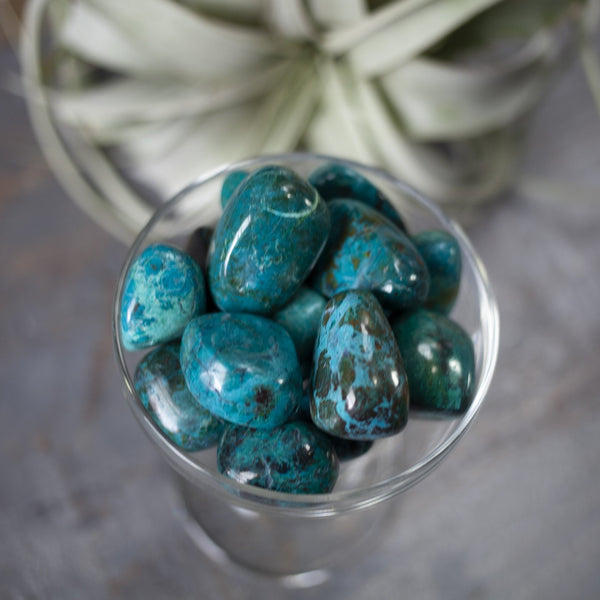 large tumbled chrysocolla stones