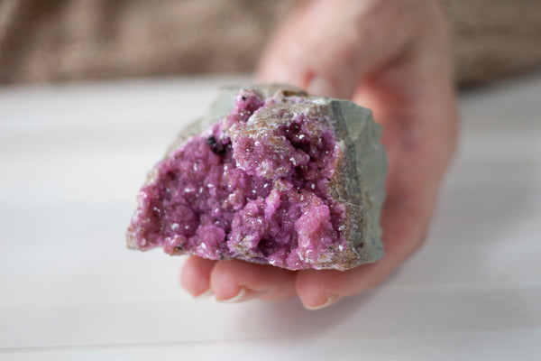 This a deep pink specimen of Cobaltoan Calcite with a half-round shape that's easy to display.