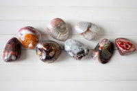 Crazy Lace Agate Stone | Gray, White and Red Tumbled Stones, Patterns & Stripes