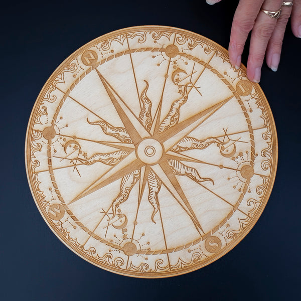 Compass Crystal Grid, Birch Wood, 10in