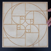 Golden Ratio Crystal Grid, 12in Wooden Grid, Fibonacci Sequence