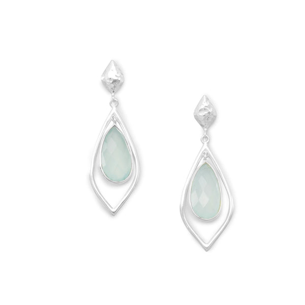 Chalcedony Drop Earrings, Hammered Silver